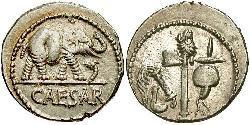 1 Денарій Римська республіка (509BC-27BC) Срібло Юлій Цезар (100BC- 44 BC)