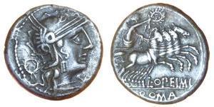1 Денарій Римська республіка (509BC-27BC) Срібло Луцій Опімій