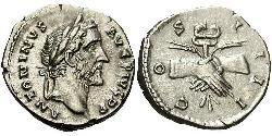 1 Денарій Римська імперія (27BC-395) Срібло Антоній Пій  (86-161)