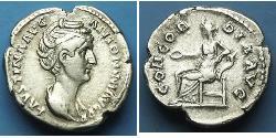 1 Денарій Римська імперія (27BC-395) Срібло Фаустіна Старша(105-141)