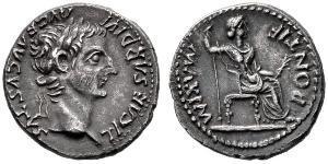 1 Денарій Римська імперія (27BC-395) Срібло Тиберій Клавдій Нерон (42 BC-37)
