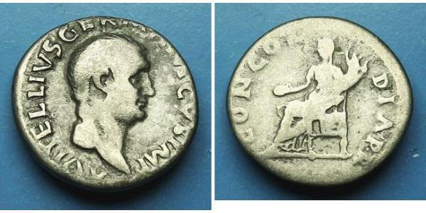 1 Денарій Римська імперія (27BC-395) Срібло Вітеллій (15-69)