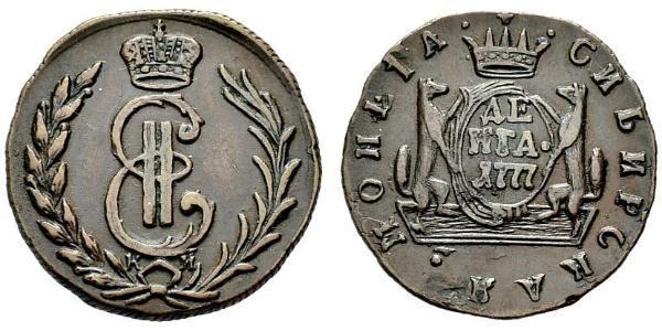 1 Деньга Российская империя (1720-1917) Медь Екатерина II (1729-1796)