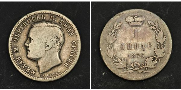 1 Динар Сербия Серебро Милан I Обренович