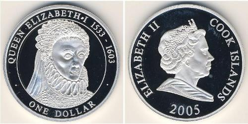 1 Долар Острова Кука Срібло Єлизавета I (1533-1603) / Єлизавета II (1926-)