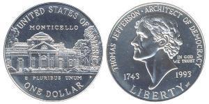 1 Долар США (1776 - ) Срібло Томас Джефферсон (1743-1826)