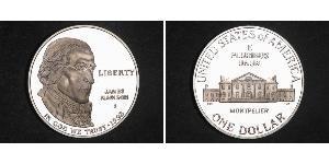 1 Долар США (1776 - ) Срібло Джеймс Медісон (1751 - 1836)