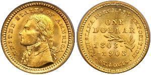 1 Доллар США (1776 - ) Золото Томас Джефферсон (1743-1826)