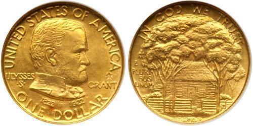 1 Доллар США (1776 - ) Золото Ulysses S. Grant (1822-1885)