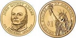 1 Доллар США (1776 - ) Никель/Медь Джон Адамс (1735-1826)