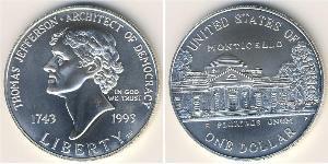 1 Доллар США (1776 - ) Серебро Томас Джефферсон (1743-1826)