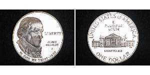 1 Доллар США (1776 - ) Серебро Мэдисон  Джеймс (1751 - 1836)