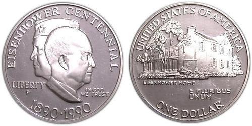 1 Доллар США (1776 - ) Серебро Дуайт Дэвид Эйзенхауэр (1890-1969)