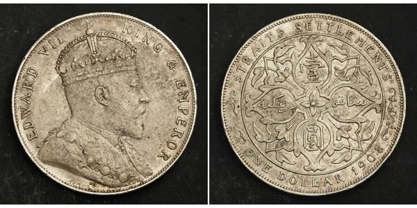 1 Доллар Стрейтс-Сетлментс (1826 - 1946) Серебро Эдуард VII (1841-1910)