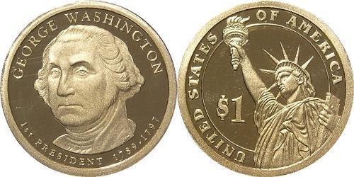 1 Доллар США (1776 - ) Цинк/Медь Джордж Вашингтон