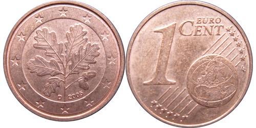 1 Евроцент Федеративная Республика Германия (1990 - ) Сталь/Медь