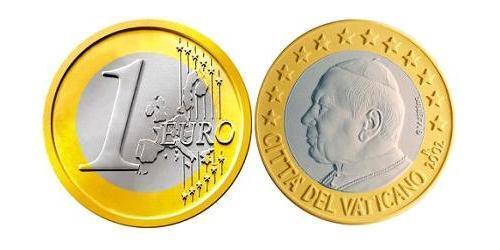 1 Евро Ватикан (1926-) Биметалл Иоанн Павел II (1920 - 2005)