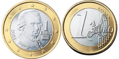 1 Евро Австрийская Республика(1955 - ) Никель/Медь Моцарт, Вольфганг Амадей