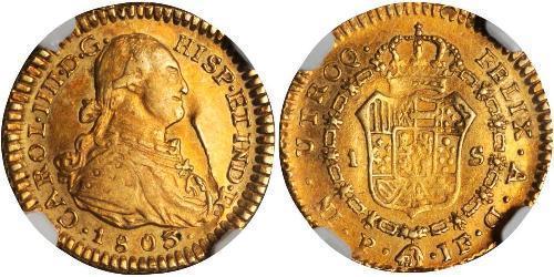 1 Ескудо Нова Ґранада (1717 - 1819) Золото Карл IV король Іспанії  (1748-1819)