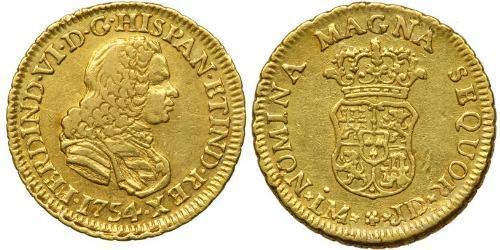 1 Ескудо Перу Золото Фердинанд VI  король Іспаніі (1713-1759)