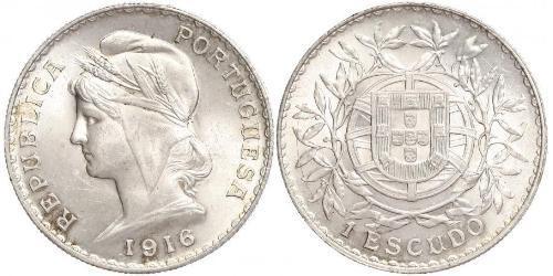1 Ескудо Перша Португальська Республіка (1910 - 1926) Срібло