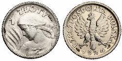 1 Злотый Польская Республика (1918 - 1939) Серебро