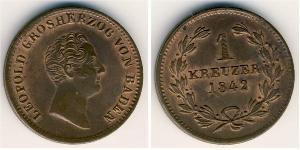1 Крейцер Великое герцогство Баден (1806-1918) Медь