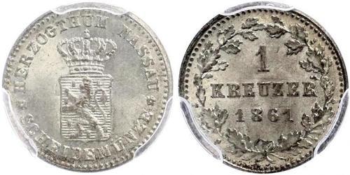 1 Крейцер Нассау (герцогство) (1806 - 1866) Серебро Адольф (великий герцог Люксембургский)