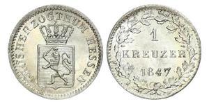 1 Крейцер Великое герцогство Гессен (1806 - 1918) Срібло Louis II, Grand Duke of Hesse