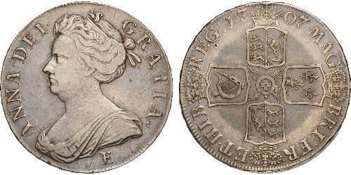 1 Крона(английская) Королевство Англия (927-1649,1660-1707) Серебро Анна (королева Великобритании)(1665-1714)