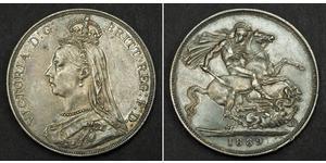 1 Крона(английская) Соединённое королевство Великобритании и Ирландии (1801-1922) Серебро Виктория (1819 - 1901)