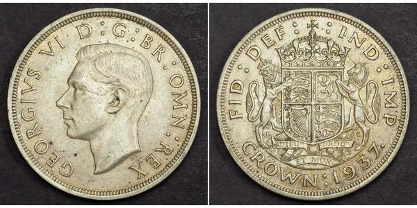 1 Крона(англійська) Велика Британія (1922-) Срібло Георг VI (1895-1952)