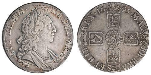 1 Крона(англійська) Королівство Англія (927-1649,1660-1707) Срібло Вільгельм III (1650-1702)