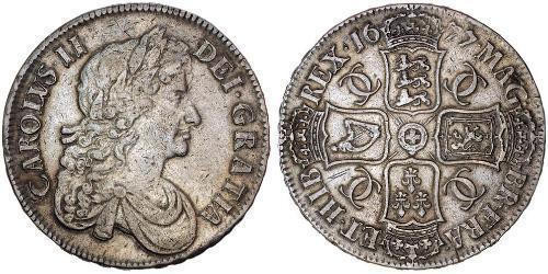 1 Крона(англійська) Королівство Англія (927-1649,1660-1707) Срібло Карл II (1630-1685)