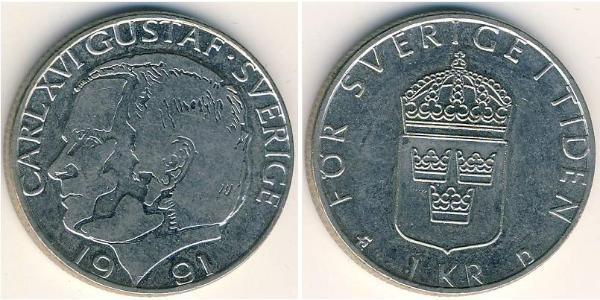 1 Крона Швеция Никель/Медь Карл XVI Густав