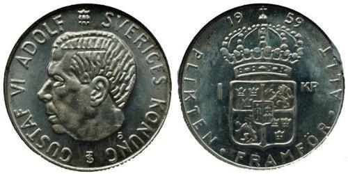 1 Крона Швеция Серебро Густав VI Адольф (1882 - 1973)