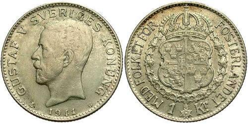 1 Крона Швеция Серебро Густав V (1858 - 1950)