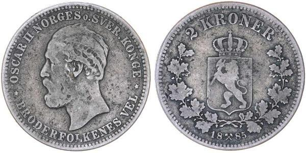 1 Крона United Kingdoms of Sweden and Norway (1814-1905) Серебро Оскар II (1829-1907)