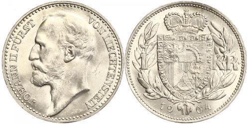 1 Крона Ліхтенштейн Срібло Johann II, Prince of Liechtenstein (1840-1929)