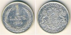 1 Лат Латвия Серебро
