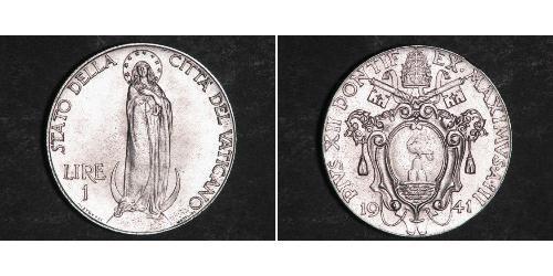 1 Лира Ватикан (1926-) Нержавеющая сталь Пий XII  (1876 - 1958)