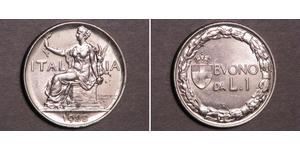1 Лира Kingdom of Italy (1861-1946) Никель