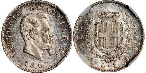 1 Лира Kingdom of Italy (1861-1946) Серебро Victor Emmanuel II of Italy (1820 - 1878)