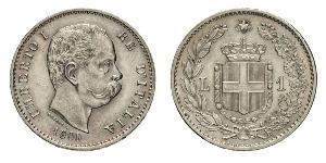 1 Ліра Kingdom of Italy (1861-1946) Срібло Умберто I (1844-1900)