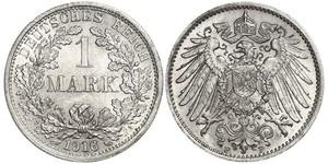 1 Марка Германская империя (1871-1918) Серебро
