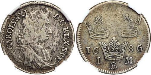 1 Марка Швеція Срібло Карл XI король Швеції (1655-1697)