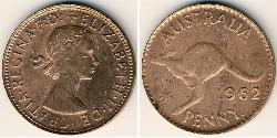 1 Пенни Австралия (1939 - ) Бронза Елизавета II (1926-)