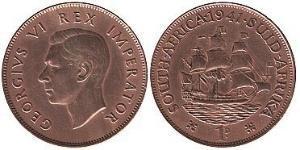 1 Пенни Южно-Африканская Республика Бронза Георг VI (1895-1952)