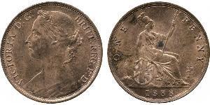 1 Пенни Соединённое королевство Великобритании и Ирландии (1801-1922) Медь Виктория (1819 - 1901)