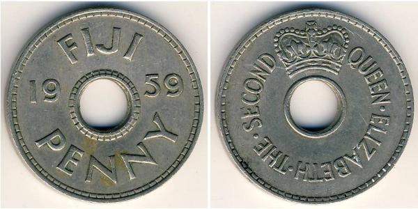 1 Пенни Фиджи Никель/Медь Елизавета II (1926-)
